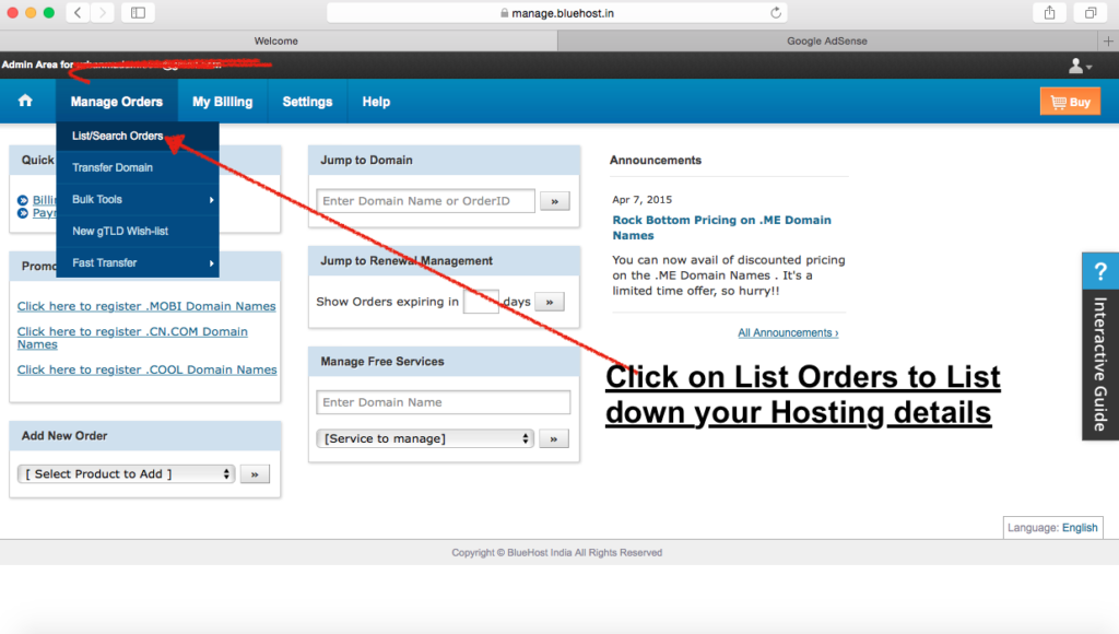 1 List orders to install wordpress on Bluehost hosting