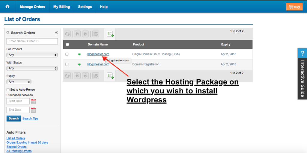 Select  the hosting install wordpress on Bluehost hosting
