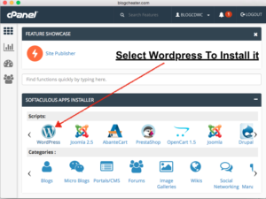 select wordpress to install wordpress on bluehost hosting