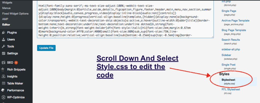 edit style.css in genesis theme
