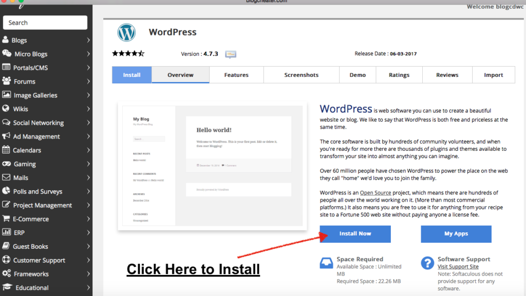 install click install wordpress on bluehost hosting