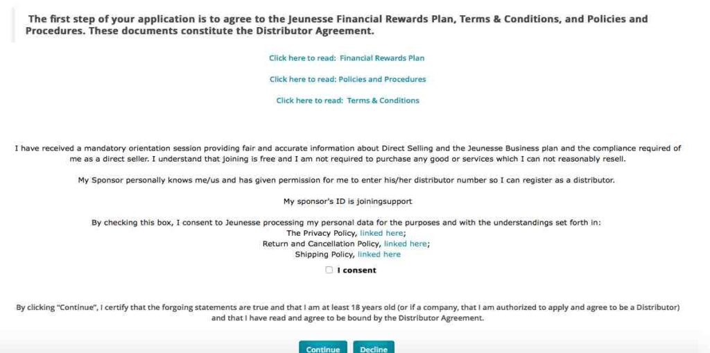 join jeunesse in india consent checkbox